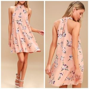 Lulus Merci Bouquet Blush Floral Print Swing Dress